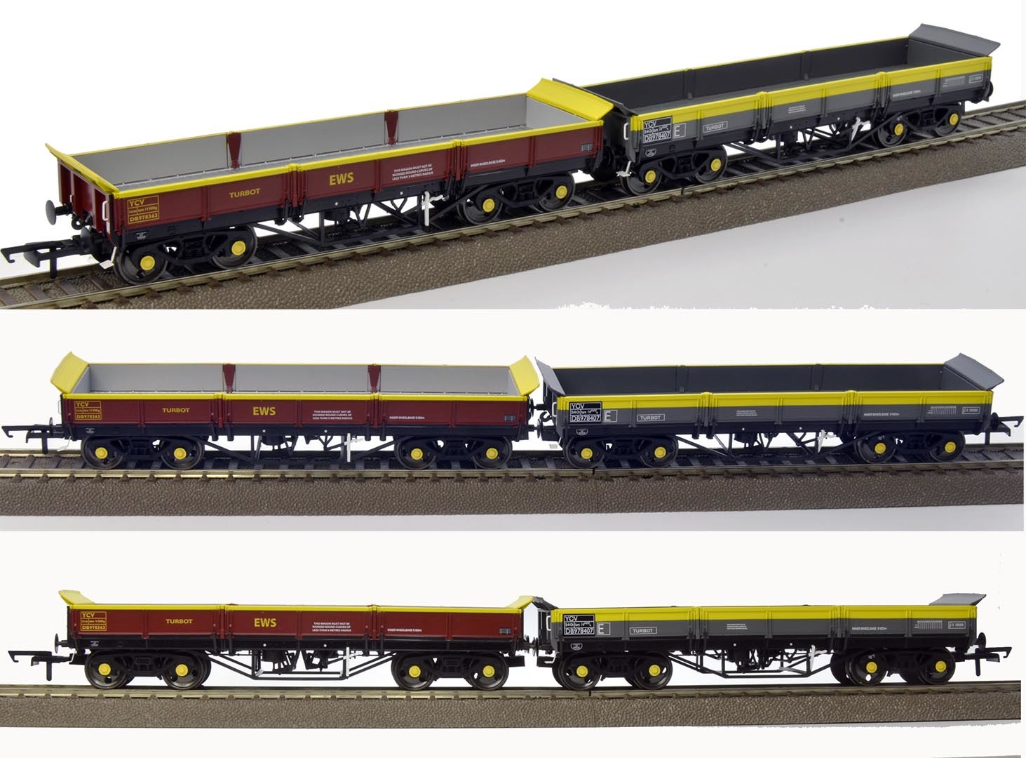 Dapol OO gauge YCV Turbots (EWS & 'Dutch')